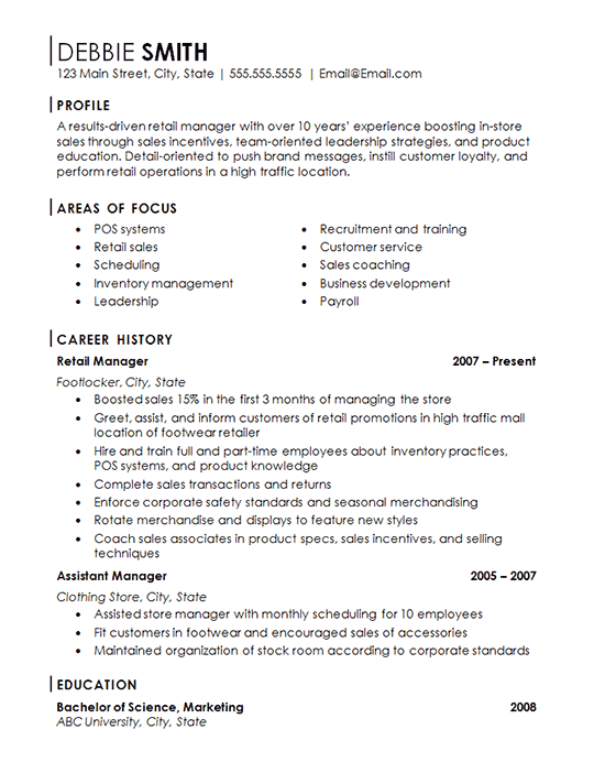 retail workers example resume store cler