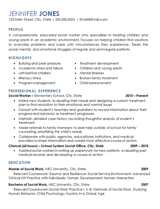 resume example for medical social work