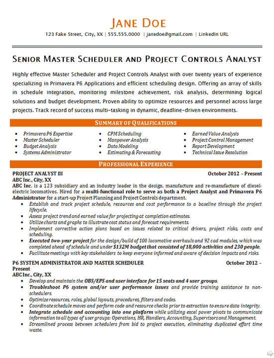 Master Scheduler Resume Example Project Controls Analyst