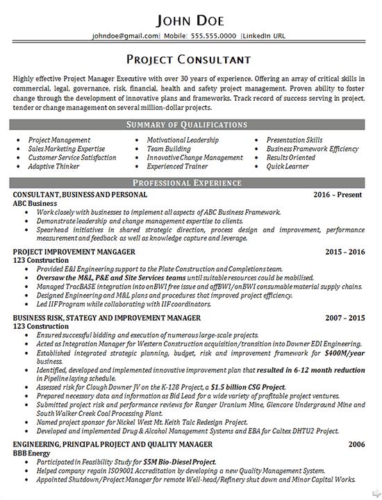 resume summary business consultant