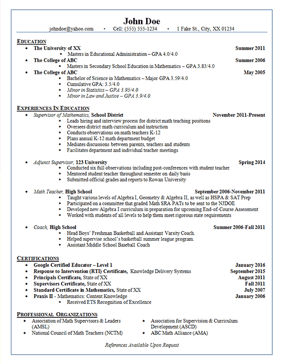 School Administrator Resume Example Adjunct Supervisor