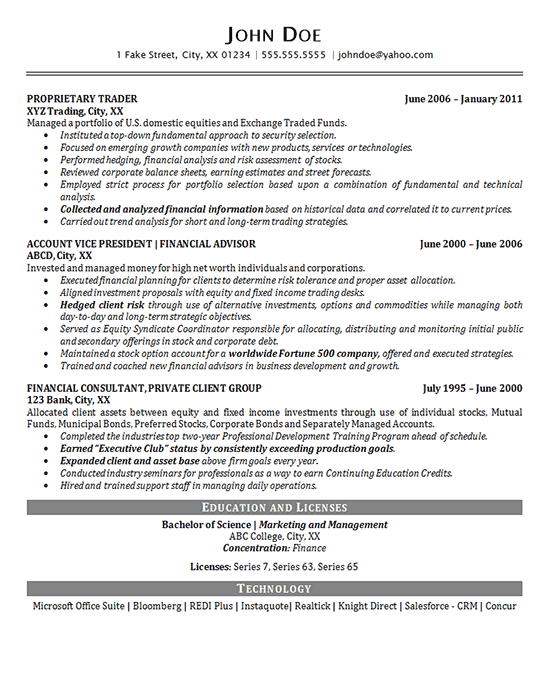 Portfolio Manager Resume Example Financial Advisor