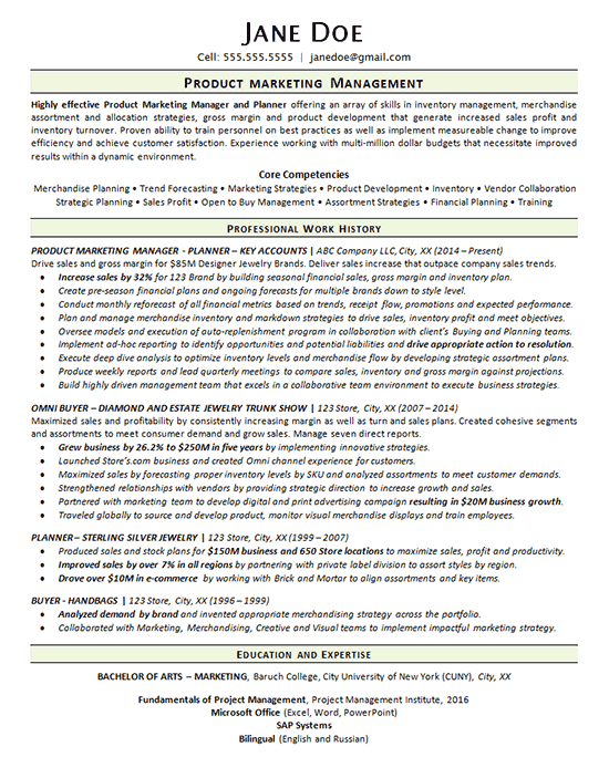 Product Marketing Manager Resume Example Merchandise Planner