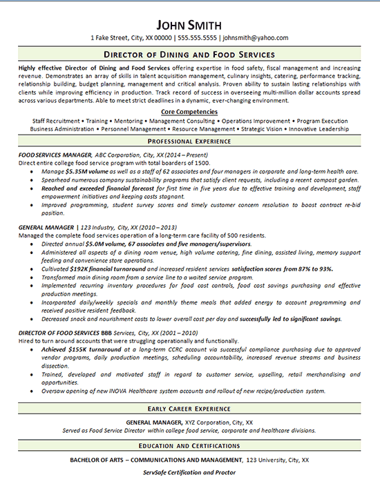 View Food Service Resume Example  Dining Manager
