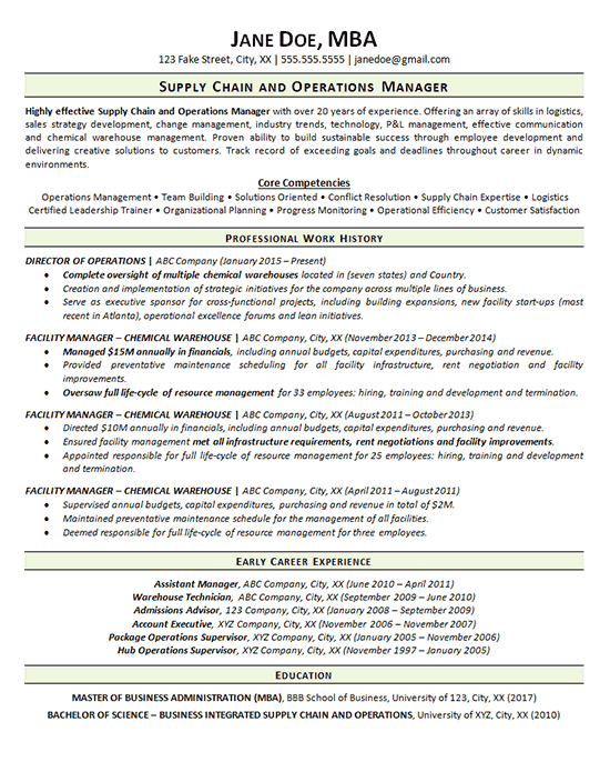 Supply Chain Resume Example Operations Manager