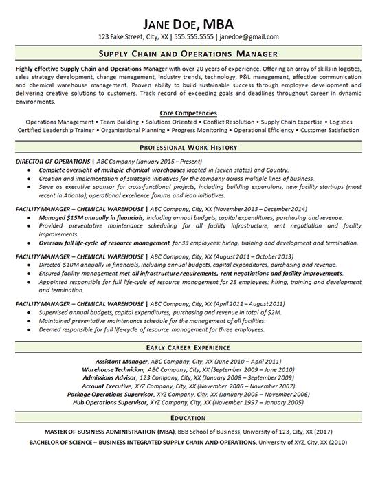 management professional resume