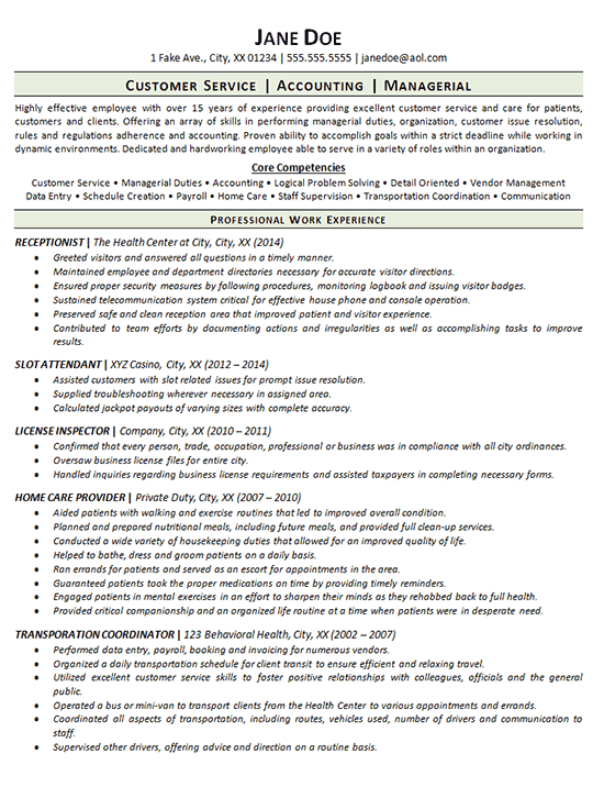 Employment Gap Resume Example Receptionist Customer
