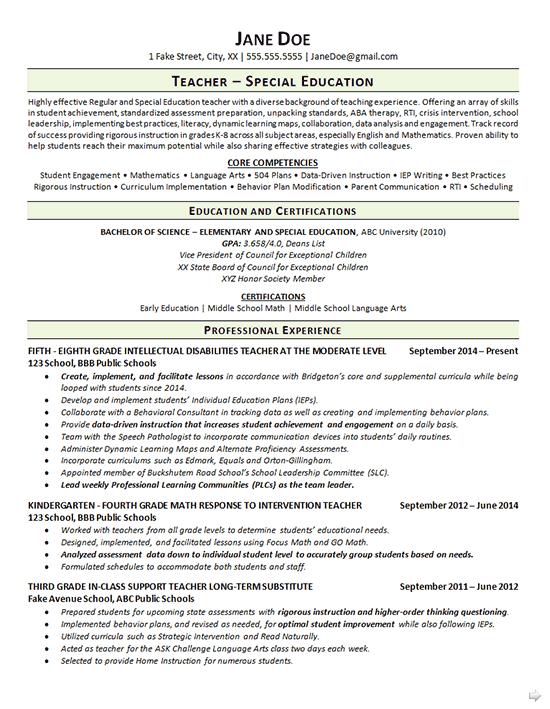resume cover letter special education teacher