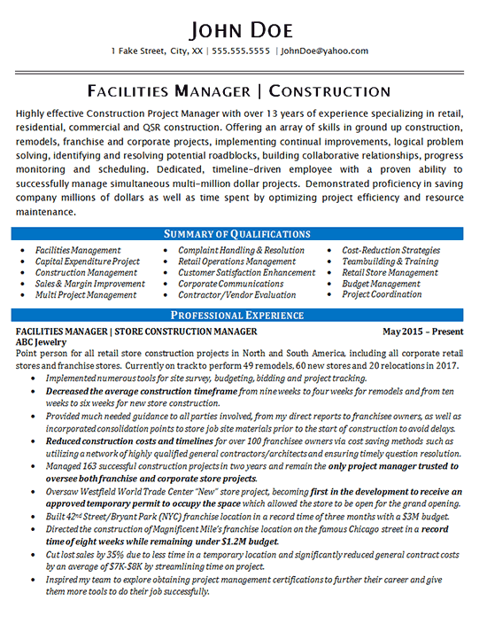 Facilities Manager Resume Example  Construction Projects