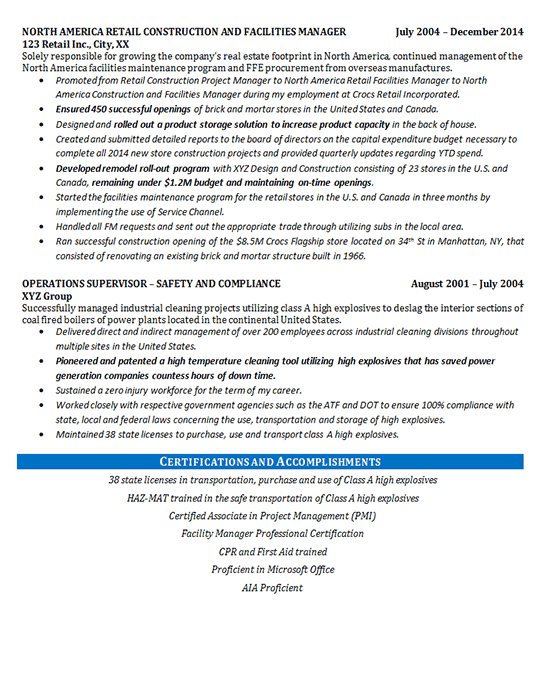 example of a resume for a maintenance manager assistant