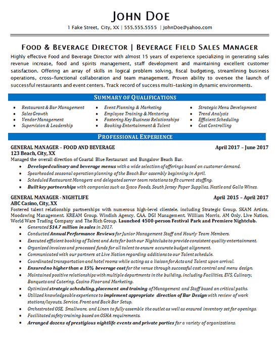 Food Beverage Manager Resume Example Restaurant & Bar