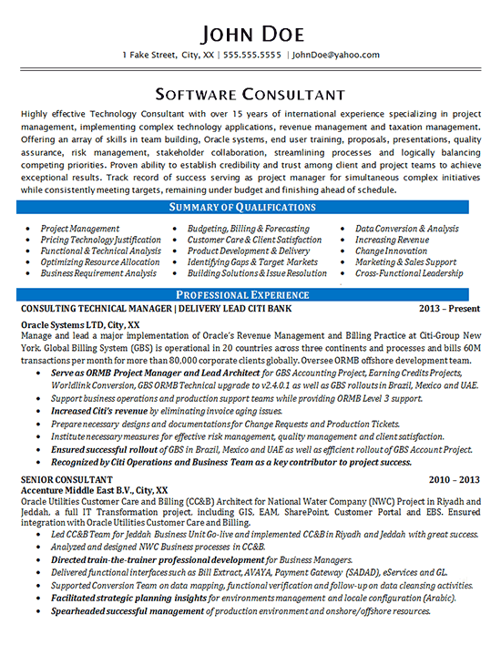 Software Consultant Resume Example  Oracle Systems  Financial