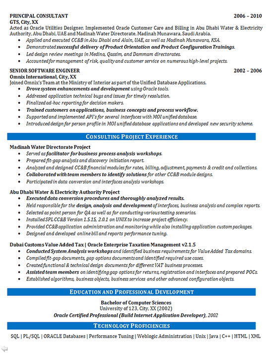 Software Consultant Resume Example - Oracle Systems - Financial