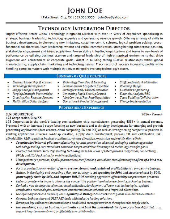 Technology Director Resume Example IT Integration