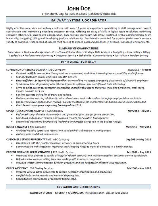 Railroad Resume Example Railway Operations Service