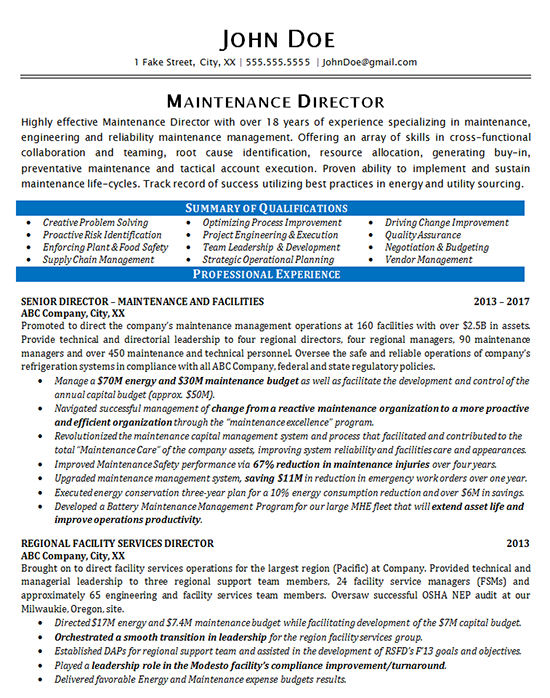 Maintenance Resume Example  Maintenance Director Manager