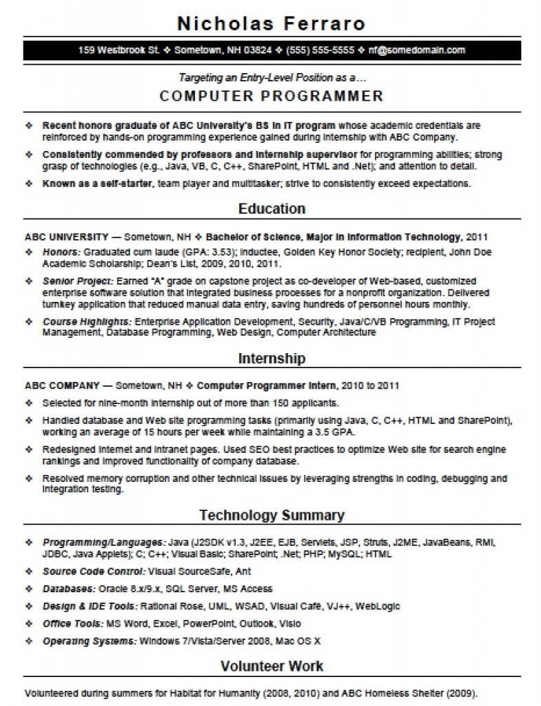 Sample Resume Entry Level Programmer. Resume. Ixiplay Free Resume ...