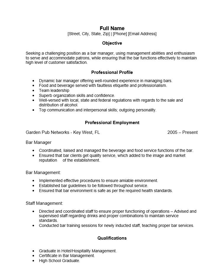 Resume For A Bartender - Resume Sample