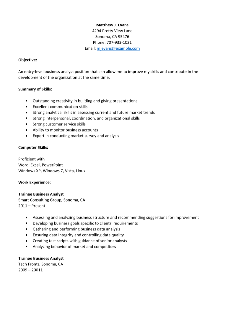 Free Entry Level Business Analyst Level Resume Template Sample