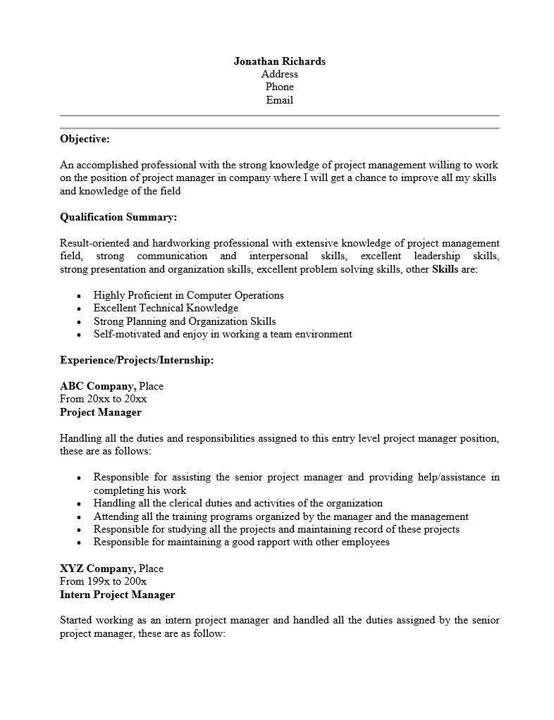 Free Entry Level Project Manager Resume Template | Sample | MS Word