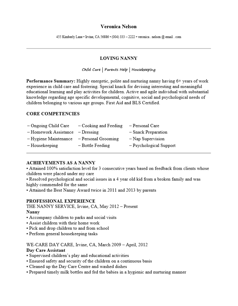 Free Nanny Resume Template Examples MS Word