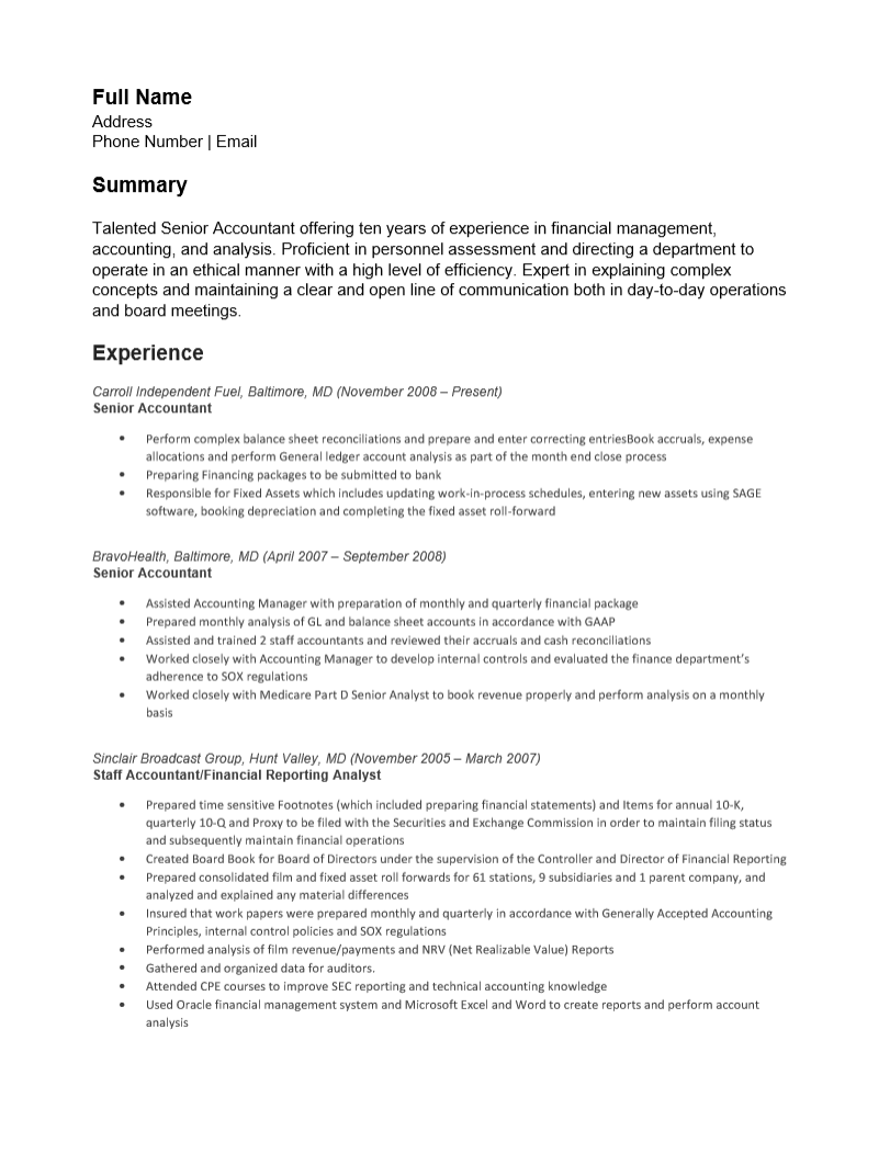 Free Senior Accounting Resume Template Sample MS Word