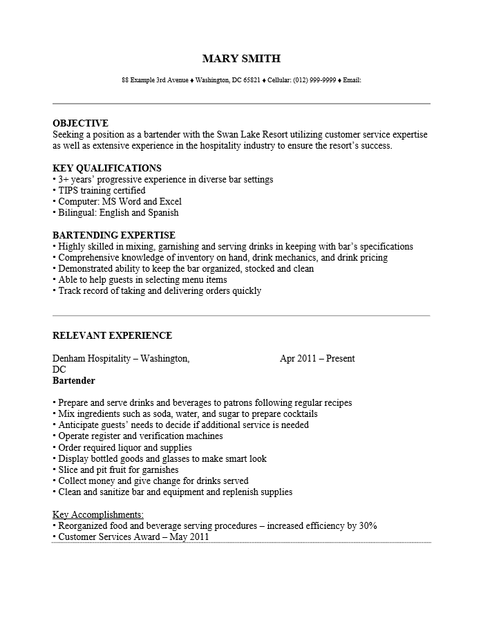Superbe Bartender Server Resume Professional Bartender Server Templates