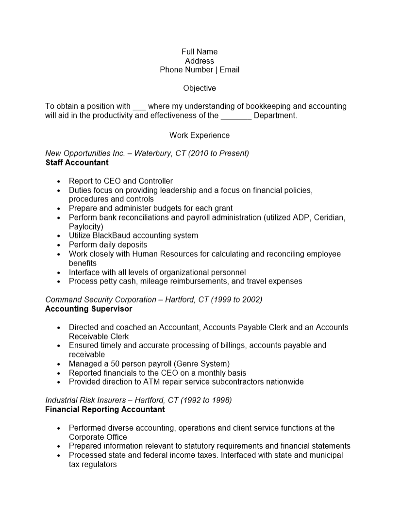 resume for staff accountant