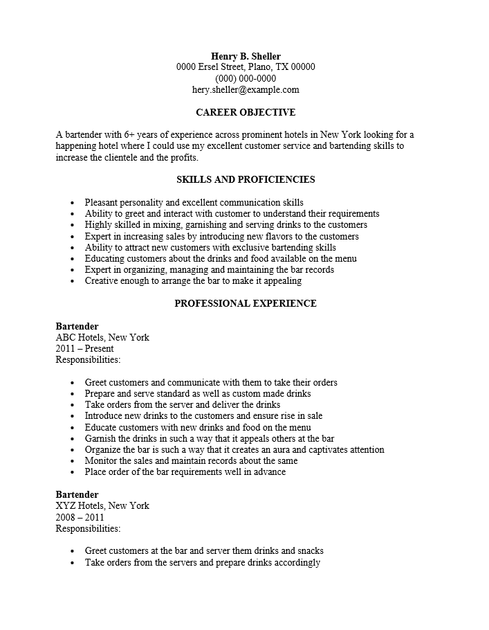 Resume Template Server Unforgettable Server Resume Examples To  Bartender Responsibilities For Resume