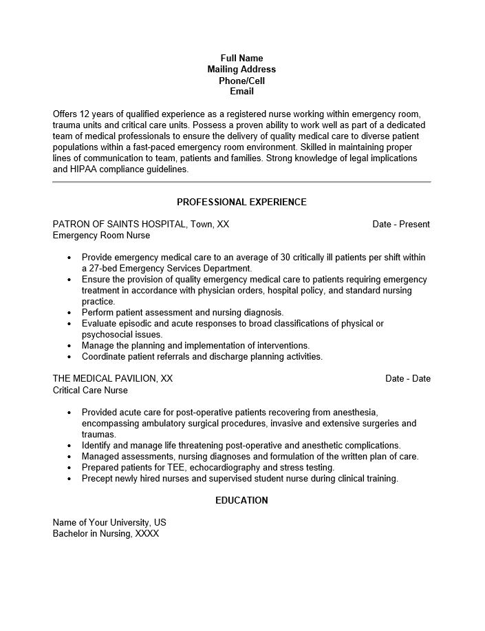 Free Emergency Room Nurse Resume Template  Sample  MS Word