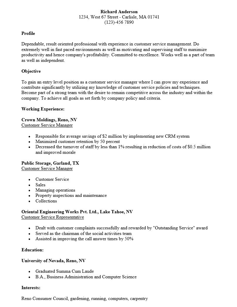 Resume Samples For Customer Service Manager