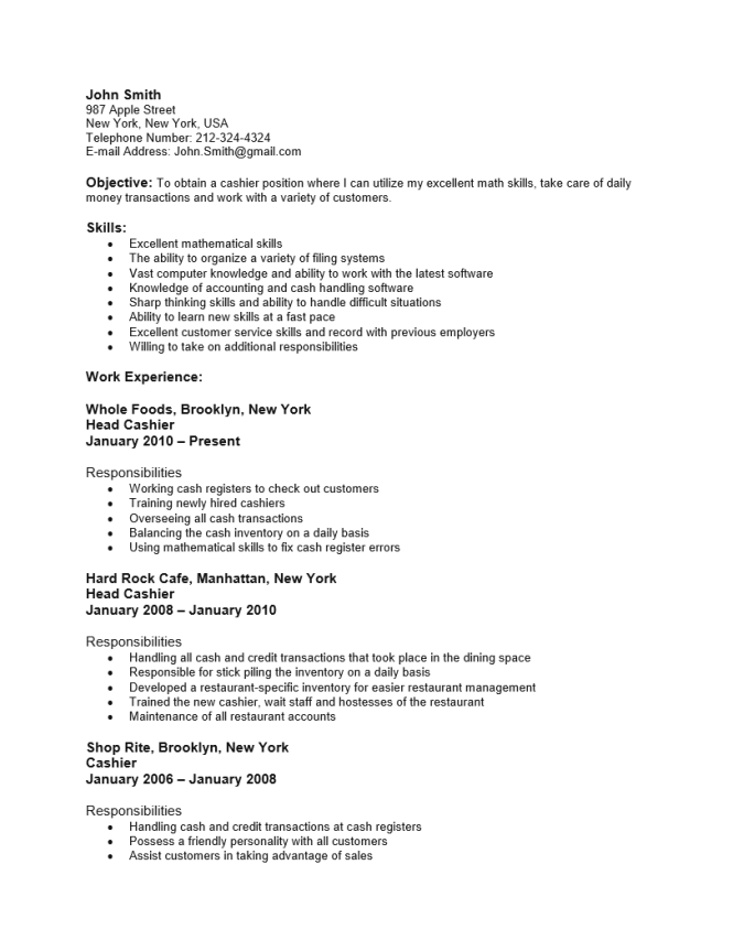 Resume For Grocery Store