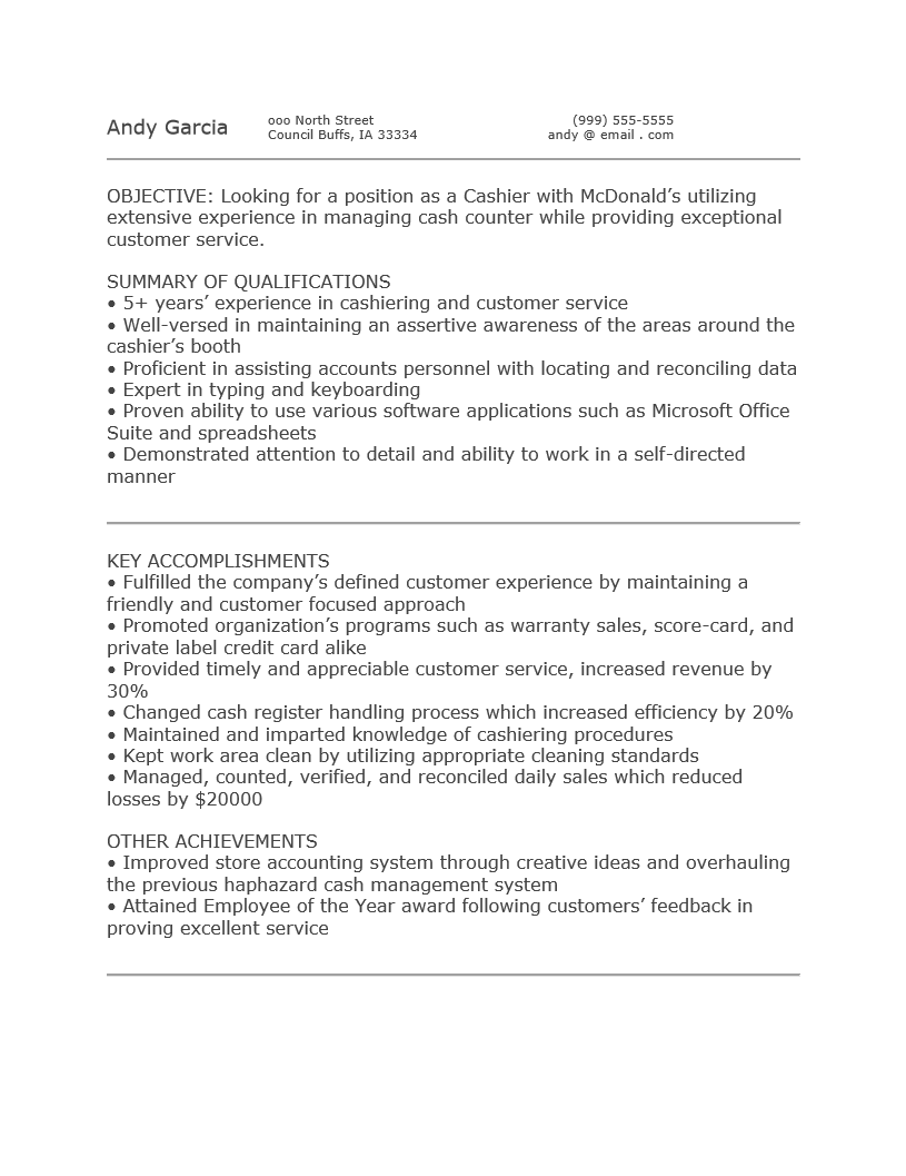 Free McDonald's Cashier Resume Template Sample MS Word