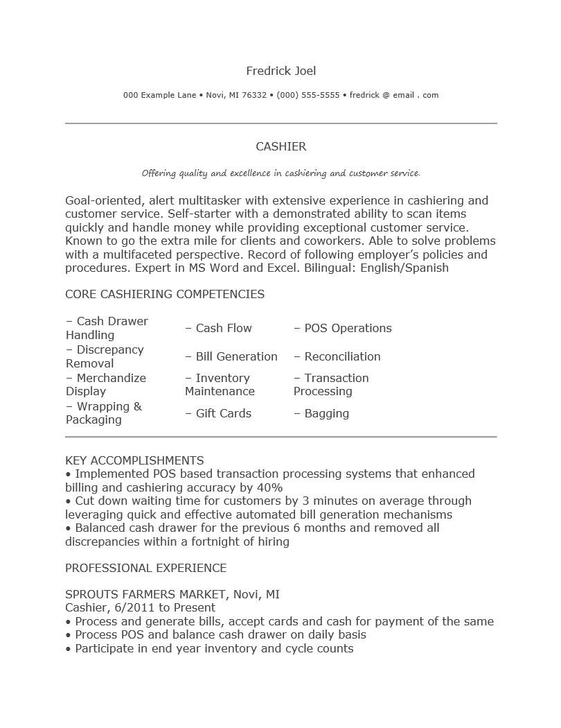 resume for cashier in restaurant