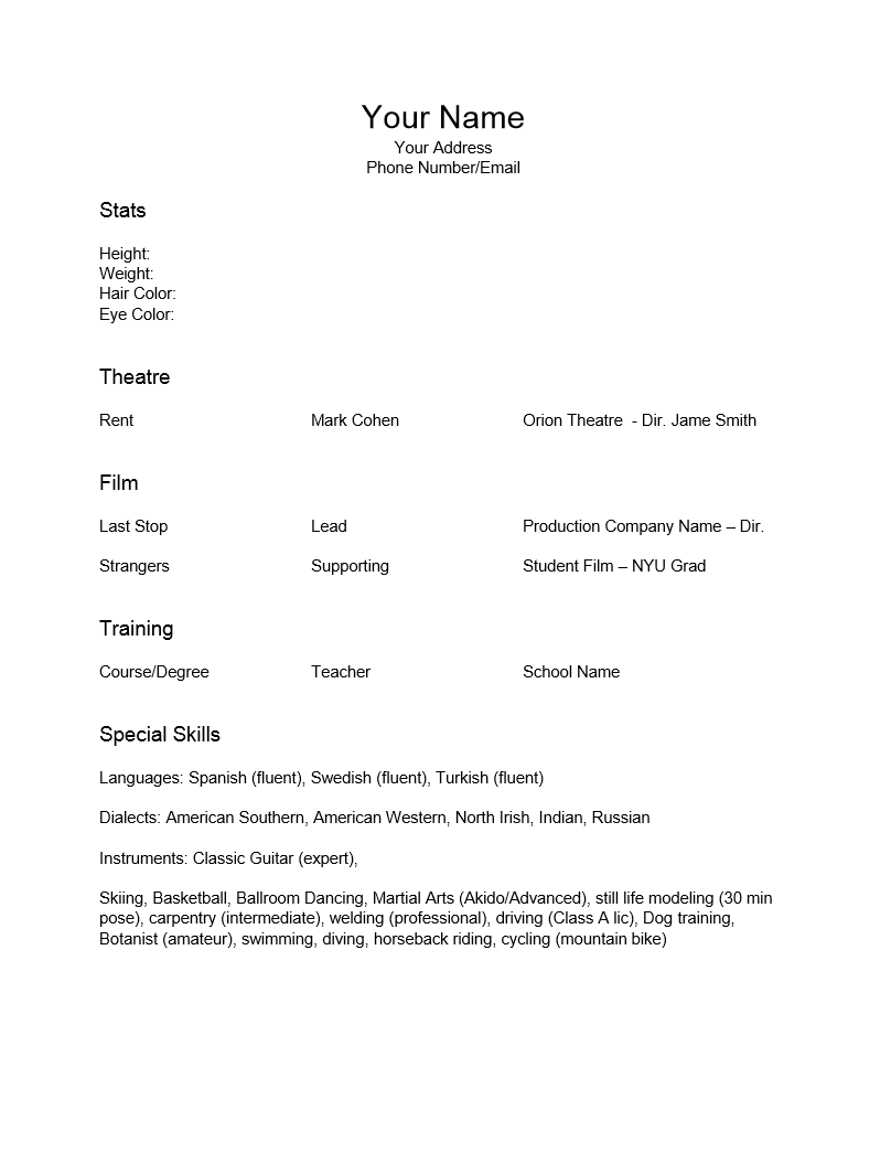 skills for acting resume