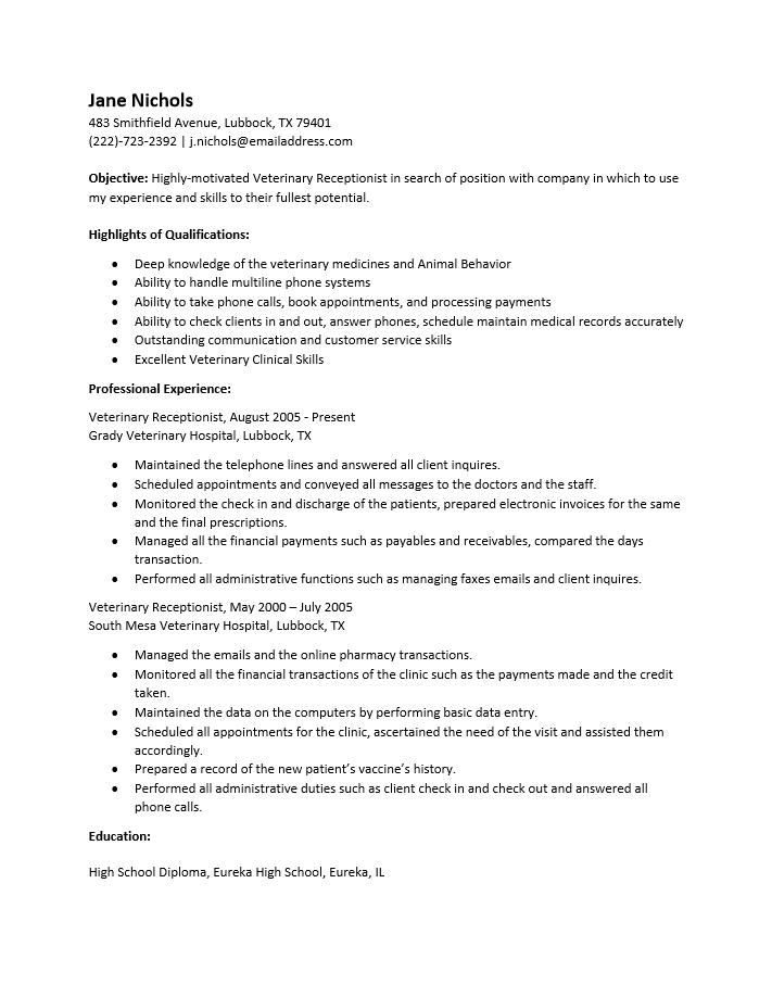 resume objective exles veterinary receptionist resume