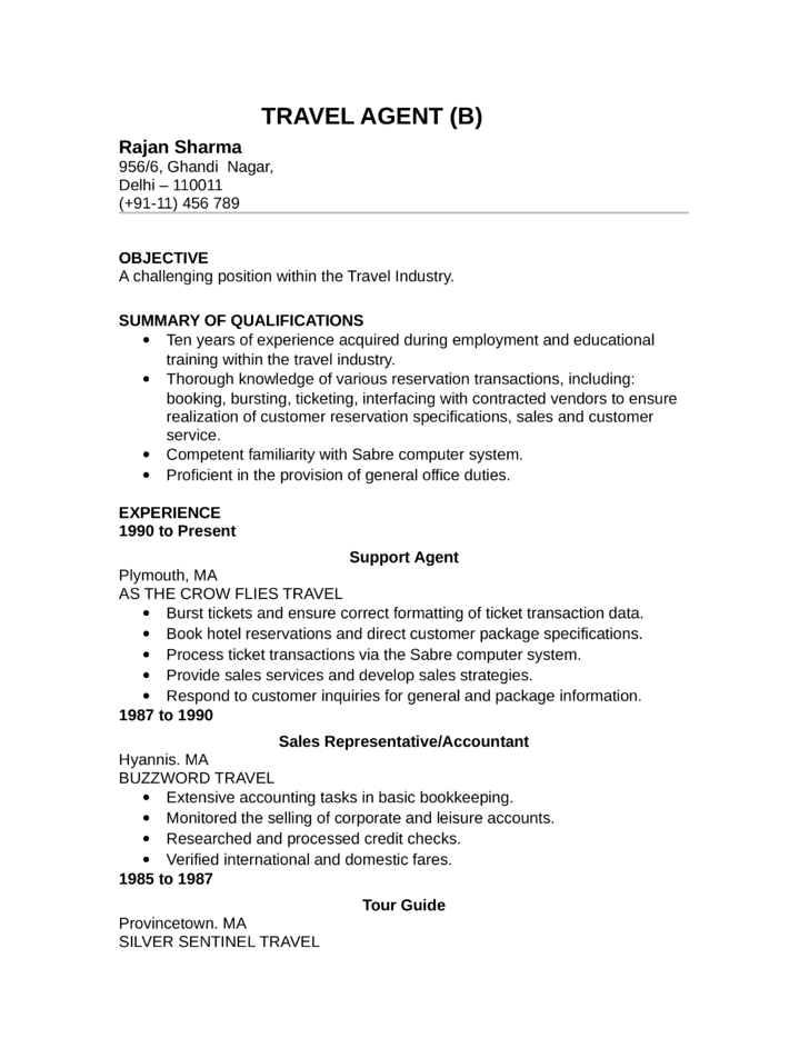 Travel Agent Resume Examples Examples Of Resumes