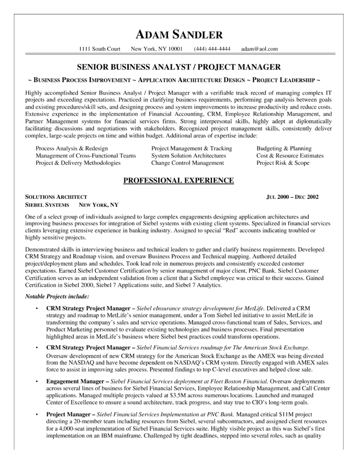 Best Business Analyst Resume Example Template