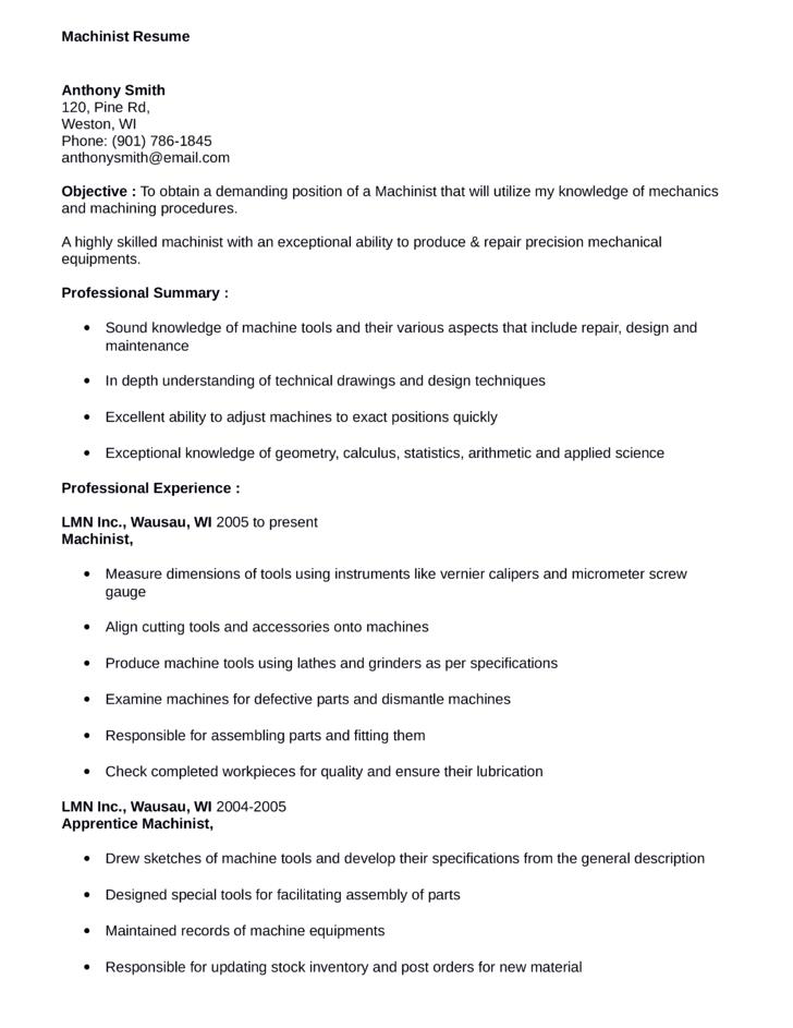 machinist resume samples starengineering - Machinist Resume Sample