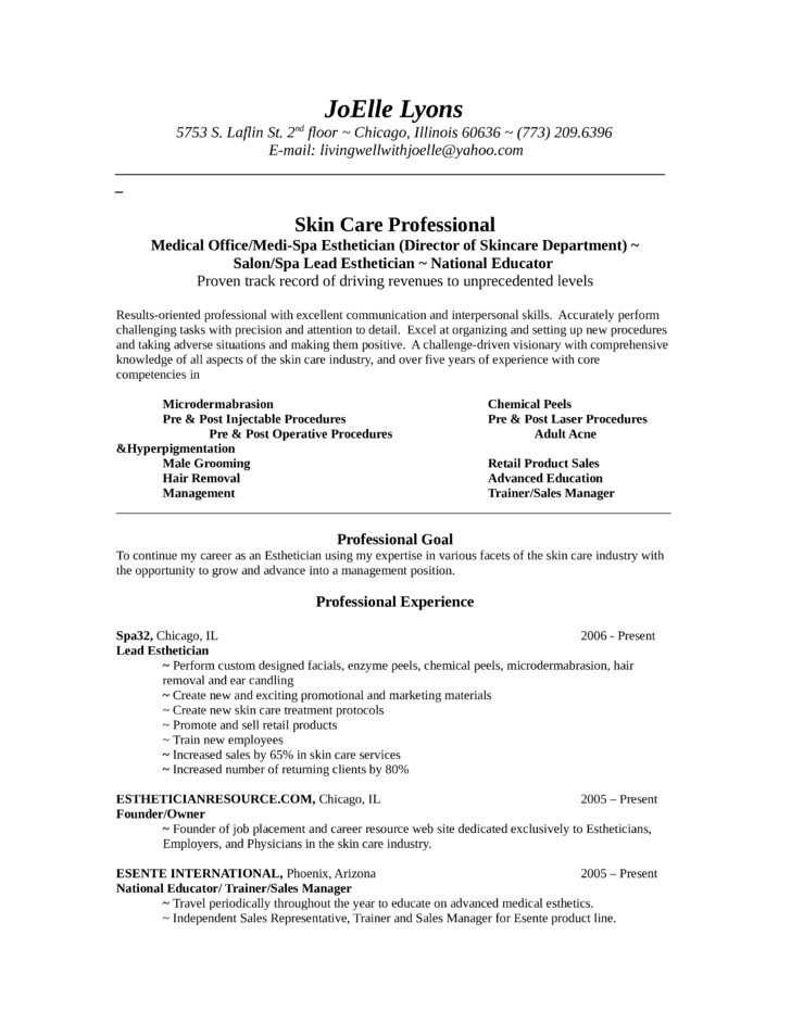 Chronological Esthetician Resume Template