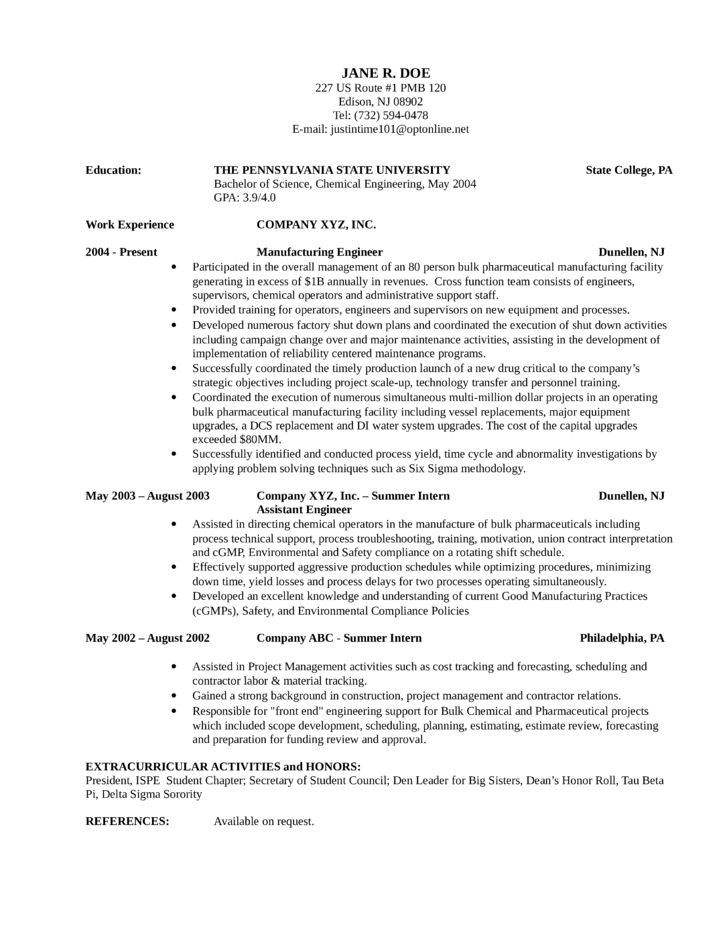 Chronological Manufacturing Engineer Resume Example Template