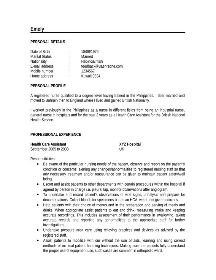 1 Nursing Student Chronological Resume Sample Ninareads Com