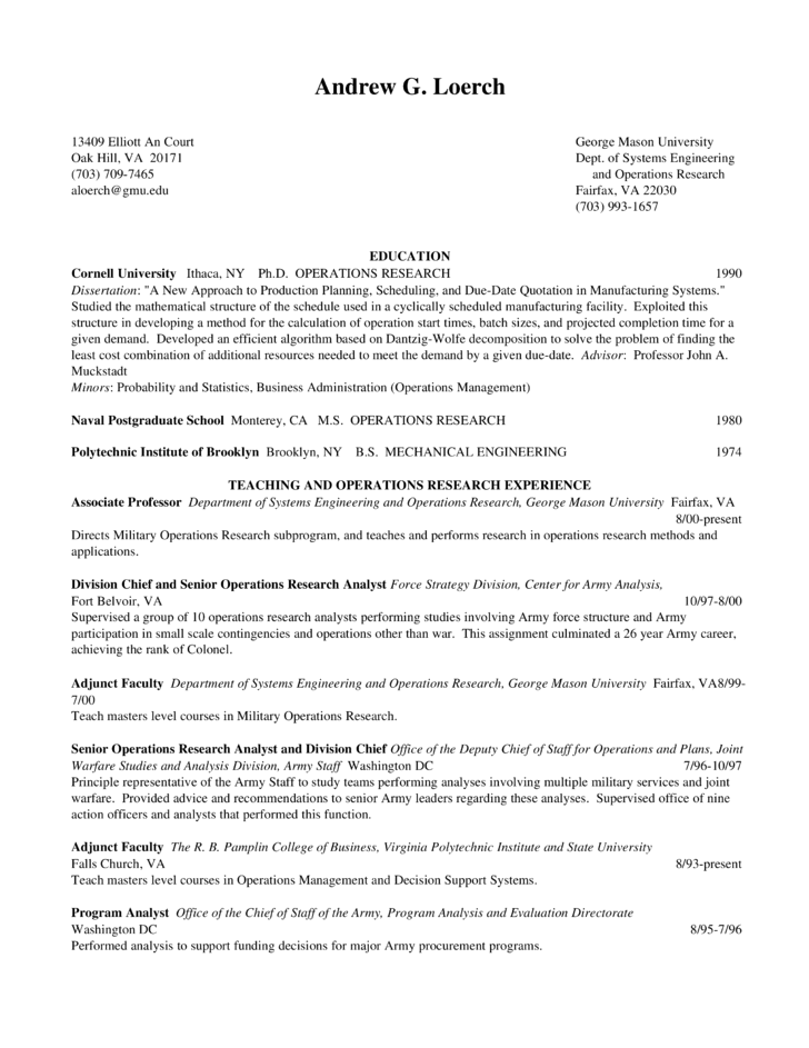 Operations Research Resume  Resume Ideas