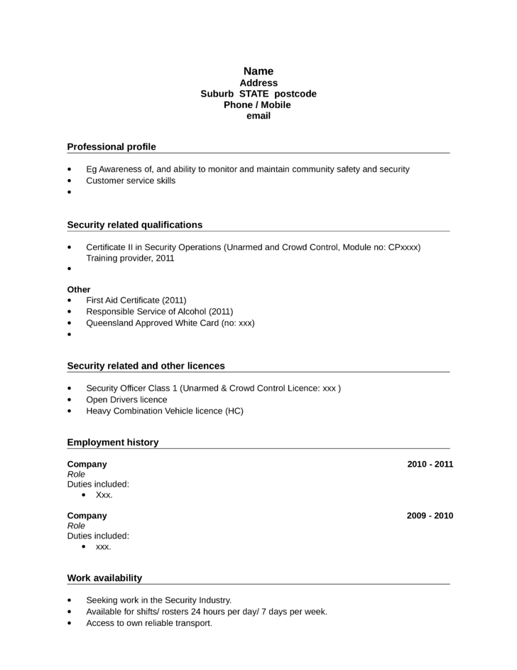 unarmed security guard resume