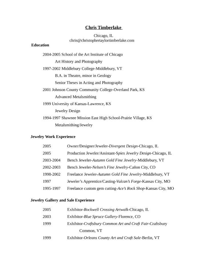 middlebury college resume template