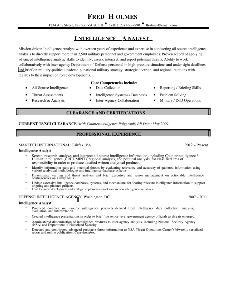 Intelligence Resume Business Intelligence Resume Example Sample