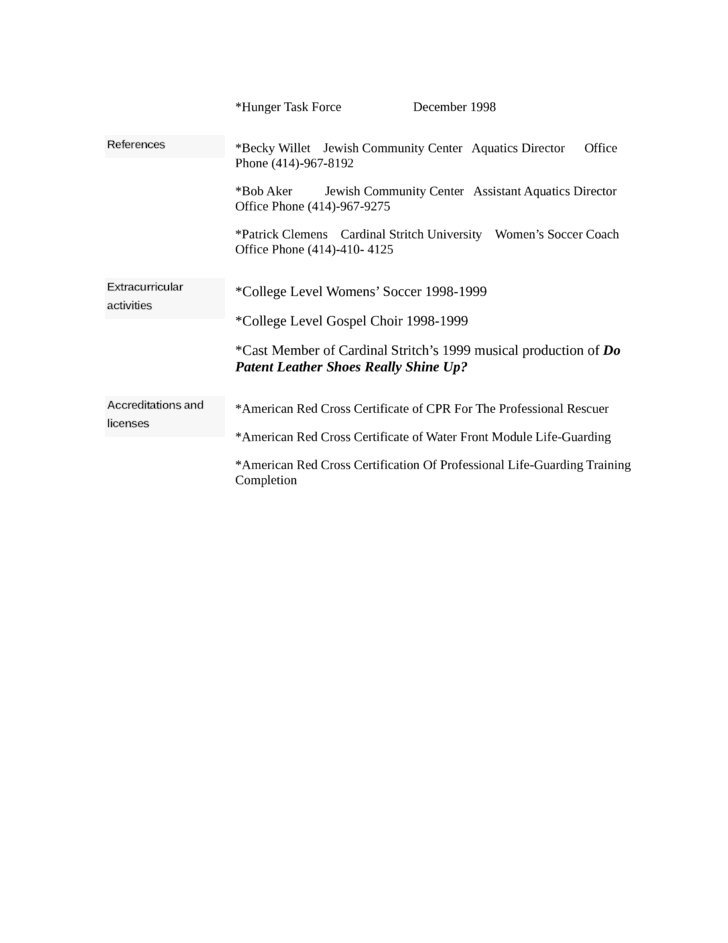Combination Lifeguard Resume Template  page 2