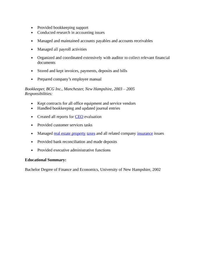 office manager bookkeeper resume templates
