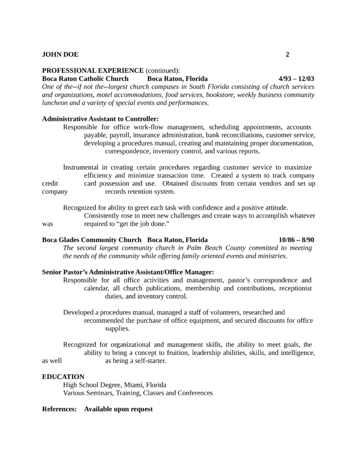 Resume For Church Receptionist - Resume Examples | Resume