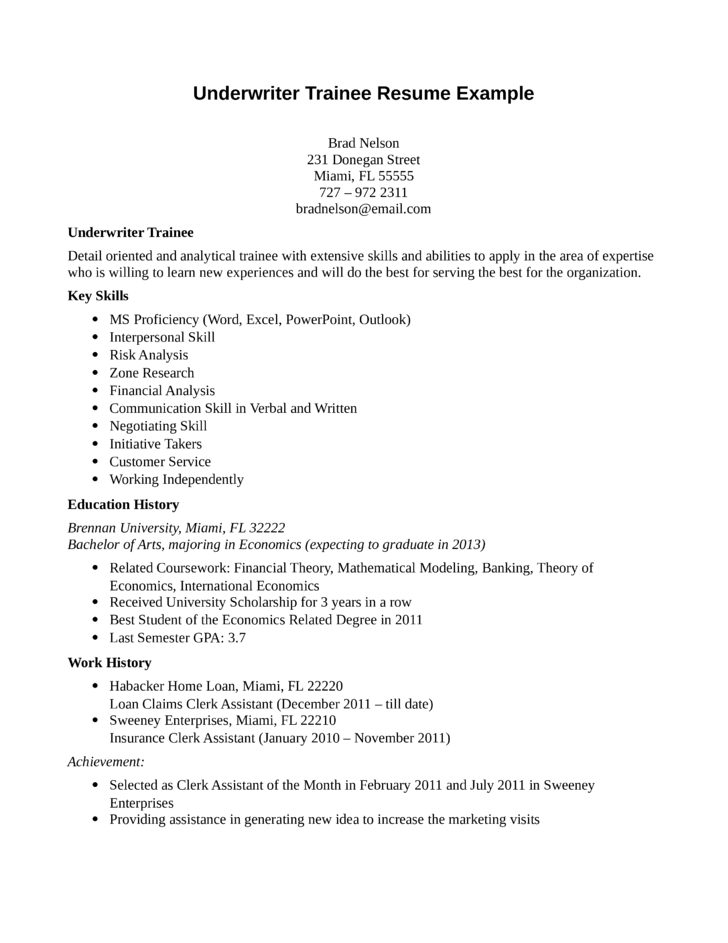 Entry Level  Freshers Underwriter Trainee Resume Template